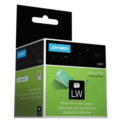 Dymo 30327 White Self-Stick File Tab Labels, 130/Roll - 2 Rolls