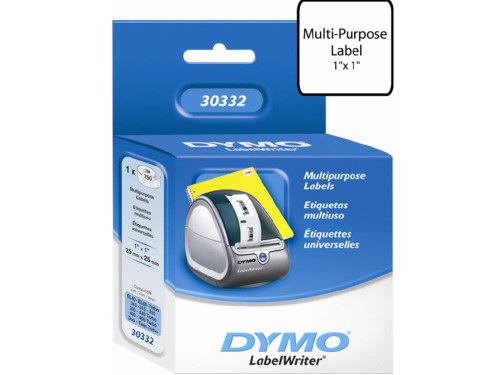 Dymo 30332 Multipurpose Labels, 1 In. x 1 In., 750 Labels/Roll