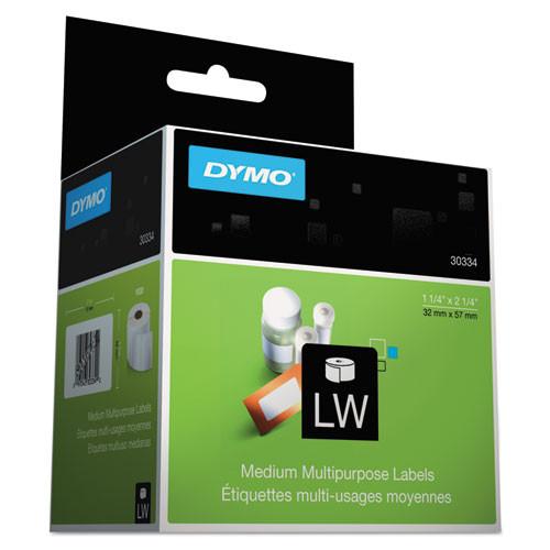 Dymo 30334 White Multipurpose Labels, 2-1/4 x 1-1/4, 1000/Roll