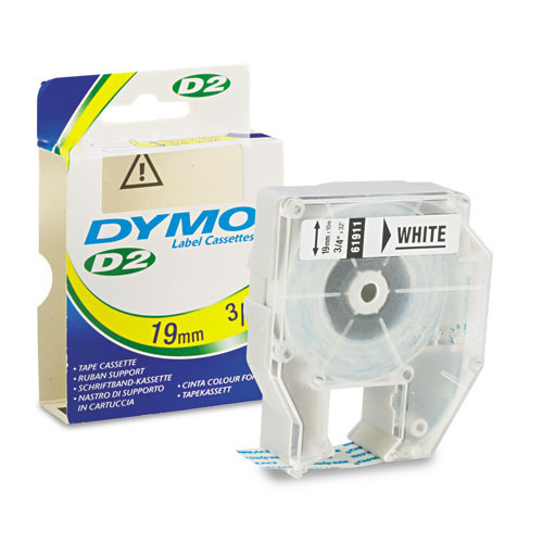Dymo 61911 Label Machine D2 Tape, 3/4 In, White