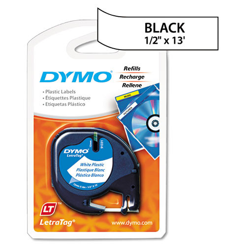 Dymo 91331 Black on White Polyester LetraTAG Tape