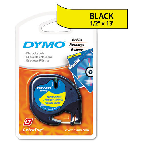 Dymo 91332 Black on Hyper Yellow Polyester LetraTAG Tape