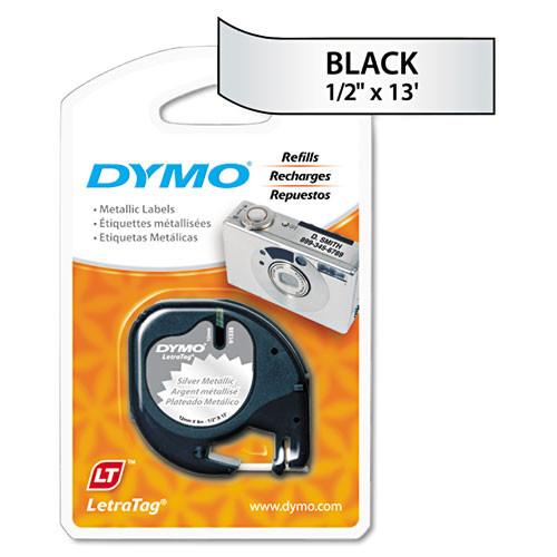 Dymo 91338 Black on Metallic Silver LetraTAG Tape
