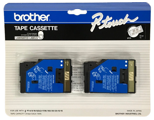 Brother TC-13 1/2 In. Gold On Clear P-touch Tape, 2/Pack
