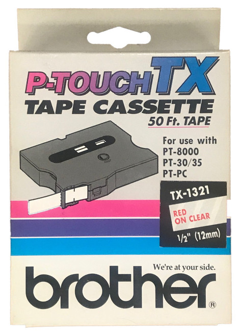 Brother TX1321 P-touch Tape - Red on Clear