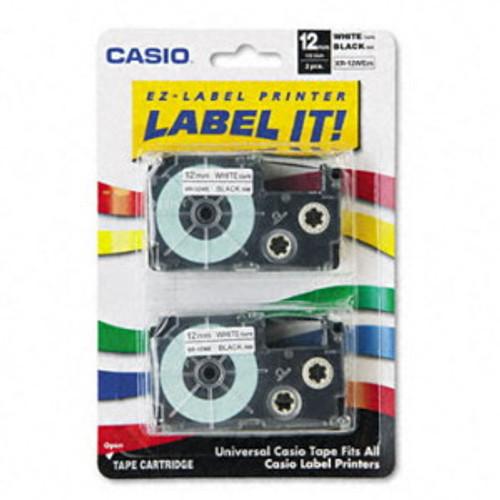Casio XR12WE2S Black on White Tape Cassettes
