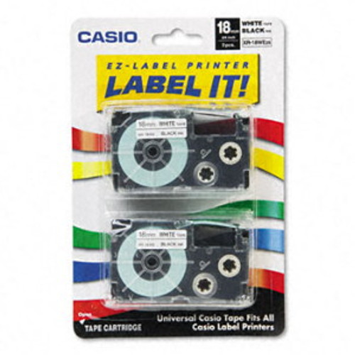 Casio XR18WE2S Black on White Tape Cassettes