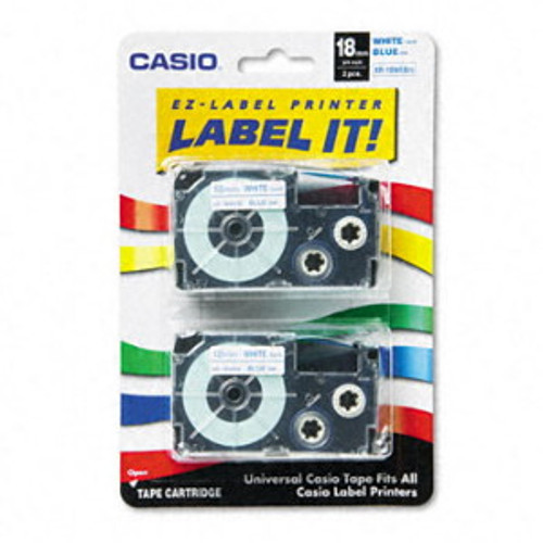 Casio XR18WEB2S Blue on White Tape Cassettes