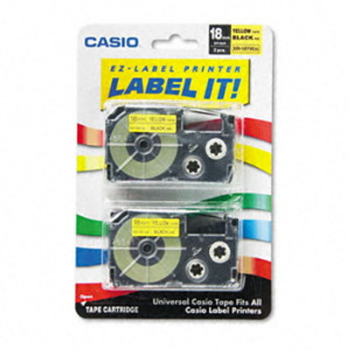 Casio XR18YW2S Black on Yellow Tape Cassettes