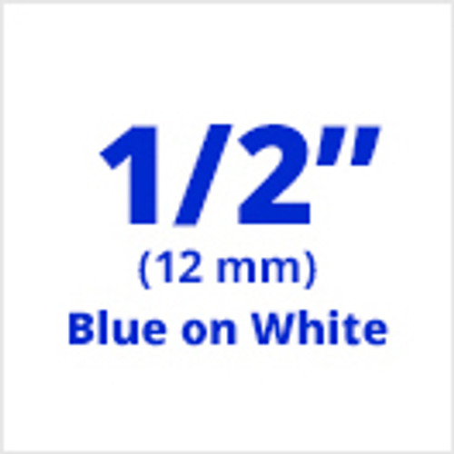 "1/2"" blue on white labels"