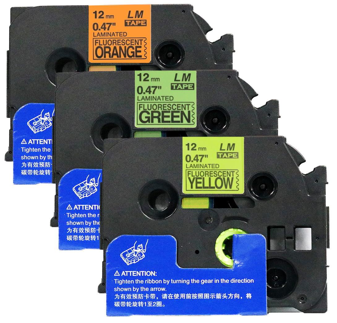 "1 FITS BROTHER TZe BLACK ON FLUR GREEN TAPE 12mm 1//2/"" label tape D31 FLUORESCENT"