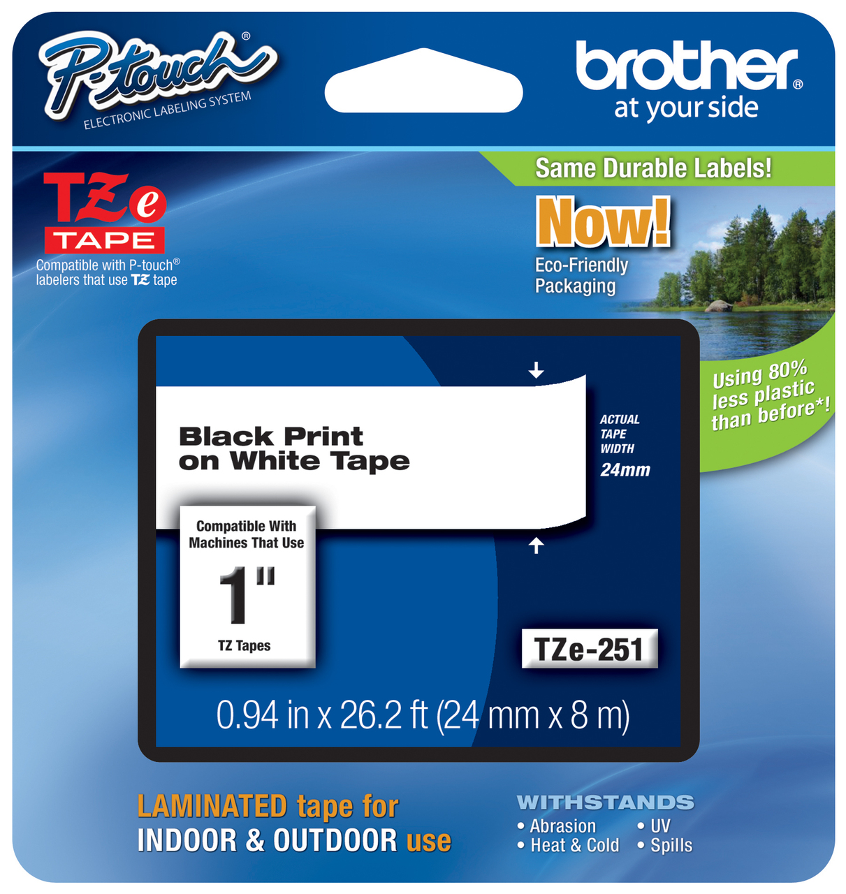 Brother P-Touch TZ-S251 Tape cassette-Black on white tape 1 inch x-streng 24mm