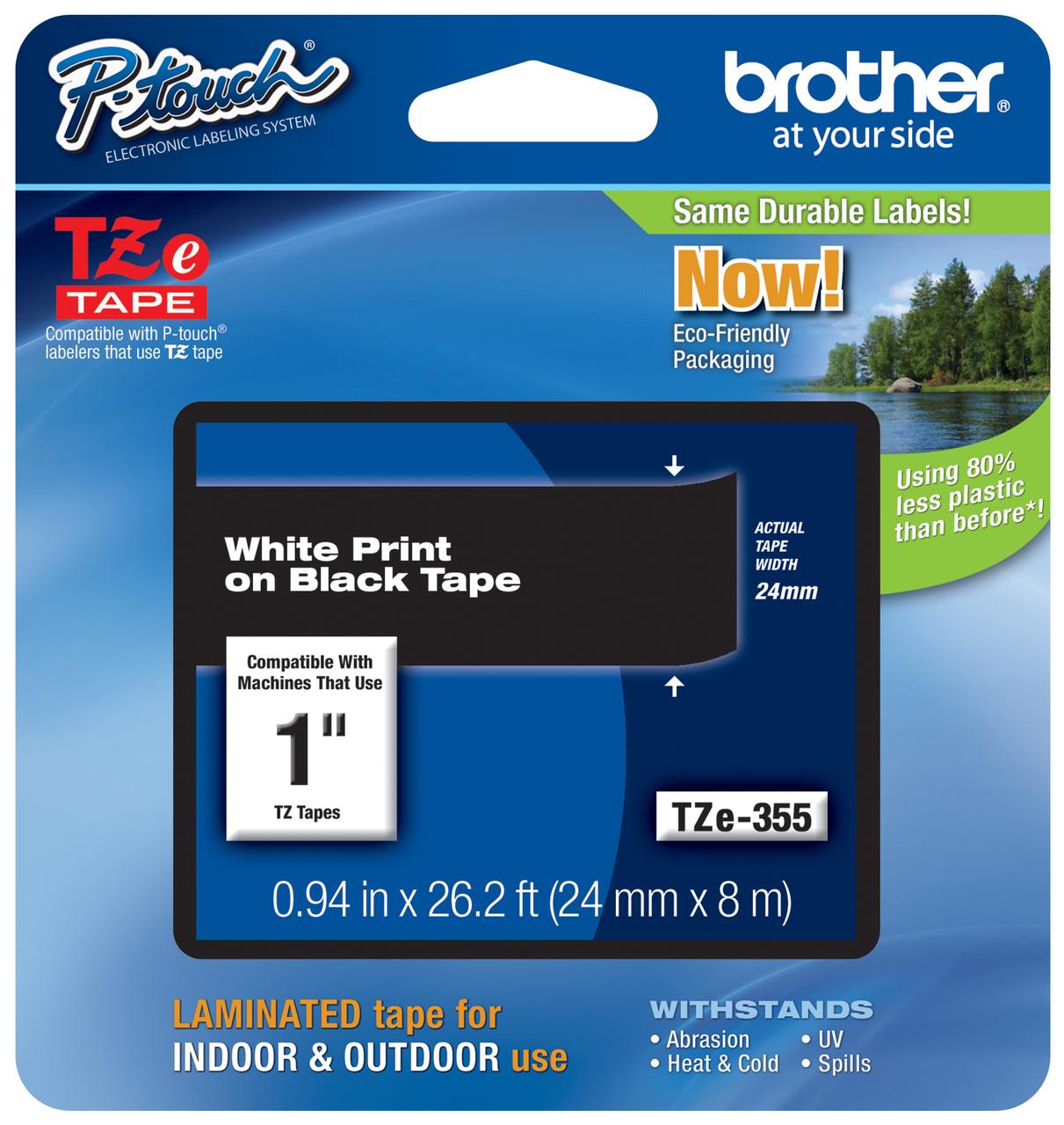3PK TZ355 TZe355 For Brother P-Touch White on Black TZ Label Maker Tape 24mm 1/'/'