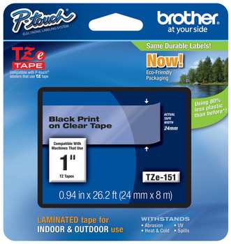 """10PK TZ151 Tze151 Black on Clear Label Tape for Brother P-Touch PT-D600 24mm 1/"""""""
