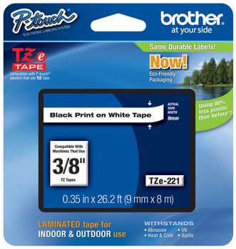 6 PK 9mm Black on White TZ221 Label Tape Cartridge for Brother P-Touch Cassette
