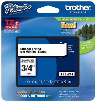2PK TZeS241 TZ S241 Black on White Label Tape For Brother P-Touch PT-1650 18mm