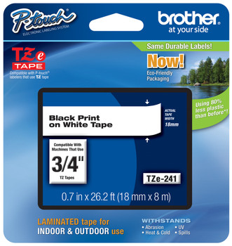 Brother TZe-241 3/4 In  Black On White P-touch Tape