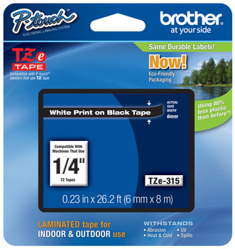 US STOCK 1PK TZ Tze 315 White on Black Label Tape for Brother Tze315 P-Touch 6mm