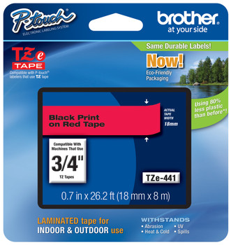 2 PK 3//4/'/' TZ441 Black on Red Label Tape TZe441 18mm For Brother P-touch PT-1400