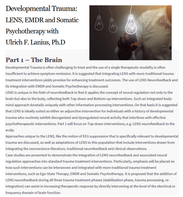 Developmental Trauma: LENS, EMDR & Somatic Psychotherapy (Part 1)