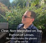 Reading glasses that turn dark in sun