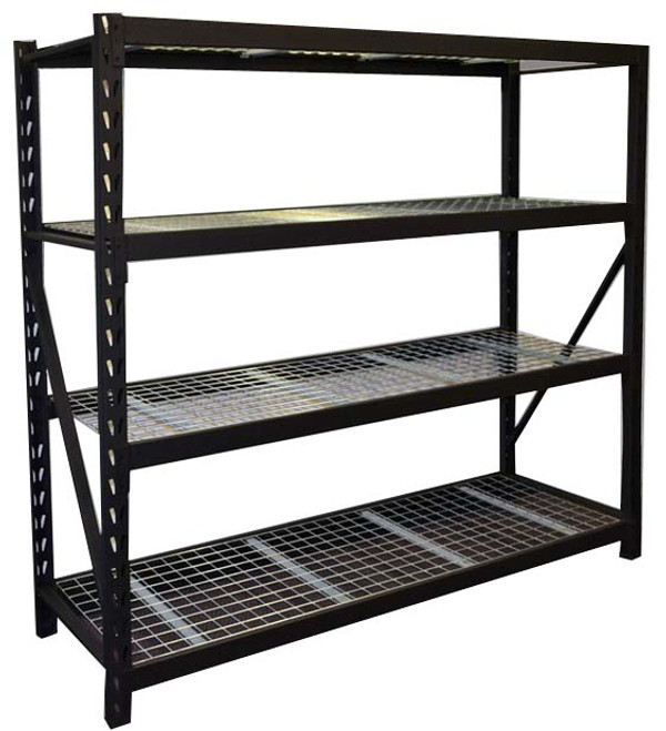 Global Easypack Longspan Shelving  Our most economical medium duty storage system. The Global Easypack longspan shelving system comes as prepacked starter and addon bays with 4 adjustable galvanised mesh levels. Each level has a 500kg evenly distributed load limit.  These prepacked units are easily collected and transported and are perfect for home, commercial or industrial application. Each unit is powdercoated in a rippled black finish.  We recommend 1 starter bay and 2 add on bays for use inside 20ft shipping containers or 1 starter and 5 add on bays for use inside 40ft shipping containers.  Beam Length (mm):1825     External Bay Length (mm):1960    Loading per Level (kg):400    Height (mm):1830    Bay Depths (mm):615    Shelf material:50 x 50 galvanised mesh    Finish:Powder coated    Colour:Matte Black    Levels:4 levels come standard. Extra levels available  Life time limited warranty.