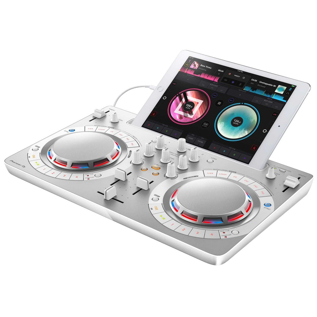 Pioneer DJ DDJ-WeGO4 Portable 2 Deck Digital DJ Controller with Sound Card and rekordbox dj Software for Mac, PC, iOS, and Android in White