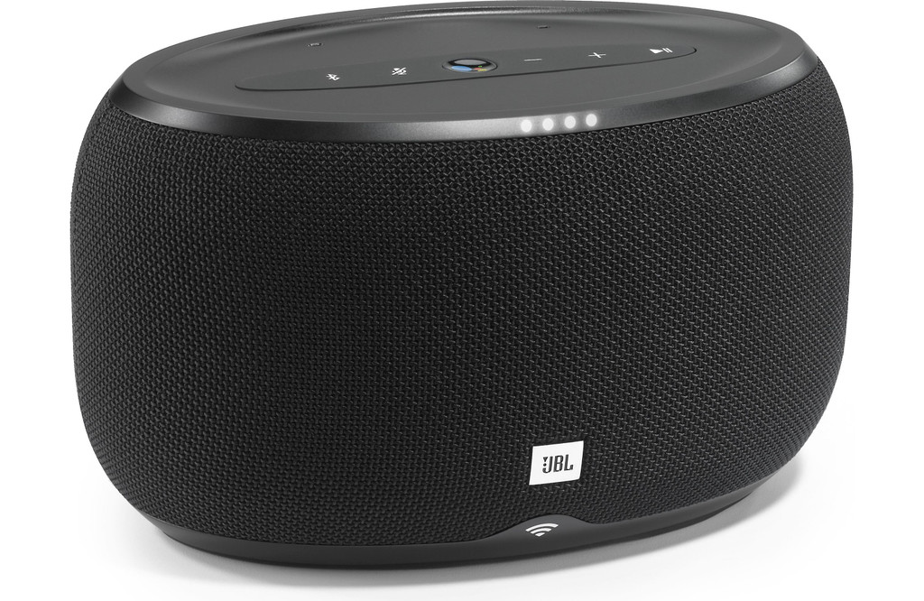 JBL Link 300 Multiroom Wireless Bluetooth Far Field Voice Activated Home Speaker in Black Powered By Google