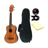 Oscar Schmidt All Koa Concert Acoustic/Electric Ukulele, EXCLUSIVE, OU5E, Grover Tuners, Includes TMS Polishing Cloth, Padded Gig Bag & Profile Digital Clip-On Tuner