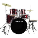 Ludwig Accent Drive 5-Pc Drum Set (LC1754) Wine Red Sparkle - Includes: Hardware, Throne, Pedal, Cymbals, Sticks & Drum Key