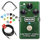 MXR M169 Carbon Copy Analog Delay Pedal Bundle with Picks, Patch Cable and Strukture 10ft Cable