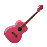 Oscar Schmidt OF2P Pink Folk Guitar in Select Spruce and Mahogany