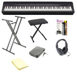 Casio PX160BK 88-Key Touch Sensitive Privia Digital Piano-Black, Samson SR350 Open-Ear Headphones, ARBENCH Keyboard Bench, ARDX Keyboard Stand, SP3R Piano-Style Sustain Pedal, Piano Book and Custom Designed Instrument Cloth