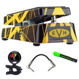 Dunlop EVH95 Cry Baby Eddie Van Halen Signature Wah Guitar Effect Pedal with Snark SN5X Clip-On Tuner for Guitar, Strukture S6P48 R-Angle Patch Cable, and StageTrix SS1 Setting Saver Marker