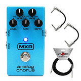 Dunlop M234 MXR Analog Chorus Guitar Effect Pedal with 2 Strukture S6P48 R-Angle Patch Cables and 2 Strukture SC10W - 10ft Instrument Cables