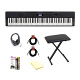 Casio PX350 Privia 88-Key Touch Sensitive Digital Piano-Black, ARBENCH X-Style Adjustable Padded Keyboard Bench, Samson SR350 Open-Ear Headphones, 2 Instrument Cable, Piano Book and Polishing Cloth