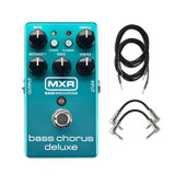 Dunlop MXR M83 Bass Chorus Deluxe Guitar Pedal with 2 R-Angle Patch Cables and 2 Instrument Cables