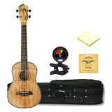 Oscar Schmidt OU7TE Spalted Mango TENOR Acoustic/Electric Ukulele with Soft Case, Clip-On Tuner, Strings and Custom Designed Polishing Cloth