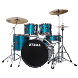 """TAMA IP52NCHLB Imperialstar 5pc Complete Drum Set Kit with 22"""" Bass Drum & Hardware, Cymbals in Hairline Blue"""