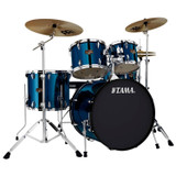 """TAMA IP52NCMNB Imperialstar 5pc Complete Drum Set Kit with 22"""" Bass Drum & Hardware, Cymbals in Midnight Blue"""