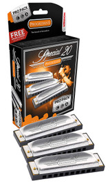 Hohner 3P560BX Special 20 Harmonica 10 Hole Brass Reeds 3 piece Pro Pack Keys of G,C,A