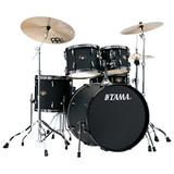 Tama IP52NBCBOB Imperialstar 5-Piece Complete Poplar Drum Set with Black Nickel Hardware and Cymbals in Blacked Out Black Finish