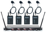 VOCOPRO UL-580-4 UHF Wireless Lavalier System 4 Channel Frequency Set 4 (Q/R/S/T) Includes 4 Wireless Bodypacks with Lavalier Mics