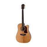 Washburn HD30SCE 6 String Acoustic Electric Guitar with solid Sitka Spruce Soundboard, Figured Ash Back and Sides and Deluxe Fishman Electronics - Natural Gloss