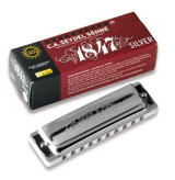 Seydel 1847 corrosion free Richter 10 hole diatonic harmonica with stainless steel reeds in Silver - Key of C
