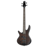 Ibanez GSR200B GIO Left-handed 4-string Electric Bass Guitar with Mahogany Body, Spalted Maple Top, 2 Single-coil Pickups, and Active Bass Boost - Walnut Flat
