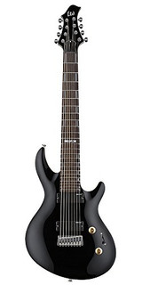 ESP Artist Series LJR208BLK 8-String Solid-Body Electric Guitar with Basswood Body, Maple Neck and Rosewood Fingerboard - Black