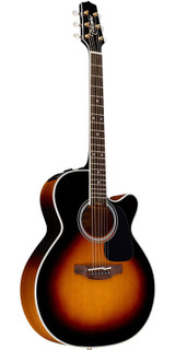 Takamine P6NC Pro Series 6 String Acoustic Electric Guitar with Solid Spruce Top and CoolTube (CTP-3) Electronics NEX Body - Brown Sunburst Gloss