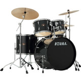 """Tama  IP52NCHBK Imperialstar 5-Piece Drum Set with Cymbals - 22"""" Bass Drum  with Chrome Hardware in Hairline Black"""