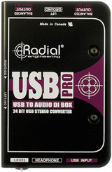 Radial USB-Pro 2 Channel Active Stereo USB Laptop DI Instrument Direct Box with Built-in Headphone Amp